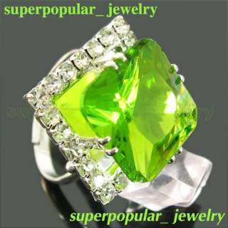 Fashion Women Large Crystal Ring Green R1046G