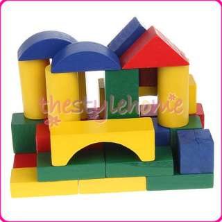 100 Wooden Wood Castle Building Blocks Kids Craft Toys