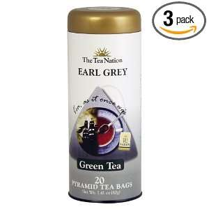The Tea Nation Earl Grey Tea, Green Tea, 20 Count Pyramid Tea Bags
