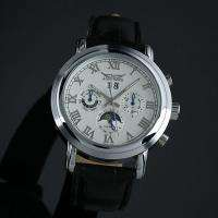 New Mechanical Wrist Date Automatic Leather Moonphase Mens Watch Auto