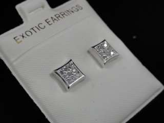 14k White Gold Finish Square Kite Stud Earrings Unisex
