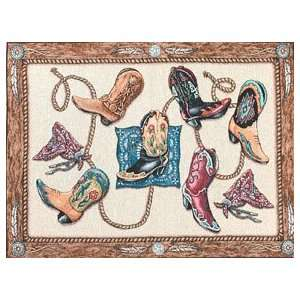Cowboy Boots Bandana Western Woven Throw Rug Boot Mat Home