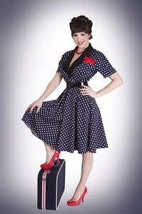 BETTIE PAGE 50s Mad Men Polka Dot LAURA Navy Boardwalk Empire Swing