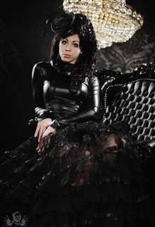 Sexy Black Gothic Wetlook Long Dress Marine /w Layered Lace Luxurious