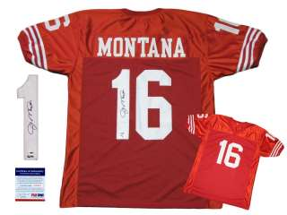 Joe Montana SIGNED Red Jersey   PSA/DNA   San Francisco 49ers