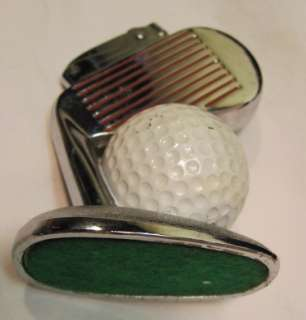 VINTAGE JAPAN SILVER CHROME METAL FIGURAL TABLE TOP LIGHTER~GOLF CLUB
