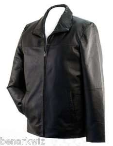 Men Solid Leather Casual Dress Jacket M L XL 2X BLACK