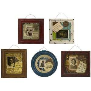 5 Piece Set of Decorative Vintage Style Framed Wall Signs