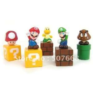 pvc 5 super mario bros action figures new 200set/lot Toys & Games