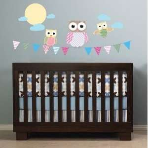 Banner Flag with 3 Owls Moon Clouds Vinyl Wall Decal Cute for Nursery