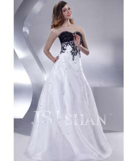 JSSHAN White&Black Long Bridesmaid Formal Party Gown Prom Evening