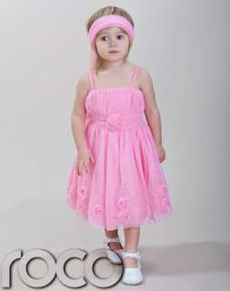 Baby Girls Pink Wedding Bridesmaid Prom Party Flower Girl Dress 1   14
