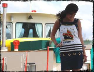 Vintage 90s Nautical Sailor Boat O Ring Mini Dress