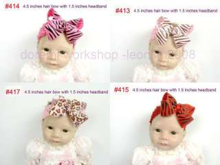 with 5 baby girl hair bows alligator clip 4.5 #412 419