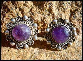 MEXICAN STERLING SILVER EARRINGS AMETHYST ART DECO BEAD BALL 40s