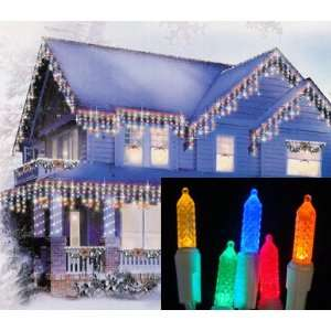 Multi Color LED Lighted Twinkling Icicle Christmas Lights   White Wire