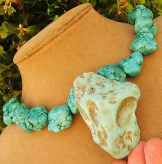 TURQUOISE CHUNKY RAW PENDANT NECKLACE AQUA BLUE big GEM ALL NATURAL