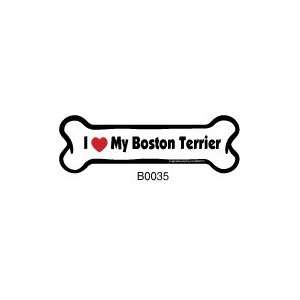 I Love My Boston Terrier   Car Bone Magnet Everything