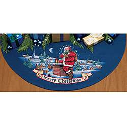 Cross Stitch Merry Christmas/Santa Tree Skirt Kit