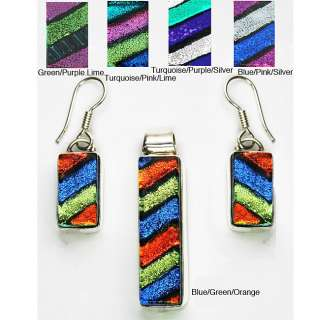 Sterling Silver Dichroic Glass Jewelry Set (Mexico)