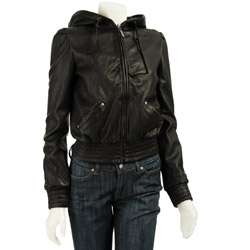 MICHAEL Michael Kors Womens Leather Hooded Jacket