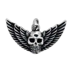 Inox Jewelry 316 Stainless Steel Winged Skull Pendant