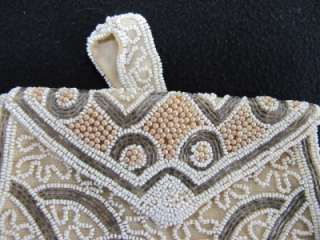 ANTIQUE VINTAGE ART DECO FLAPPER BEADED PURSE BAG c1930