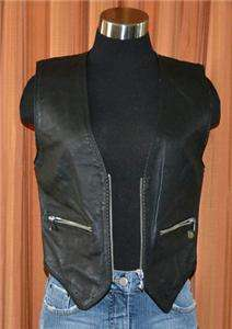 HARLEY DAVIDSON BLACK LEATHER VEST SLEEVLESS HD JACKET LADIES WOMENS