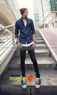 Men Fashion Simple Slim Fit Casual Denim Jean Shirt Top Dark Blue New