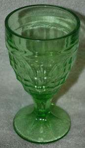 COLONIAL BLOCK GREEN DEPRESSION GLASS WATER GOBLET