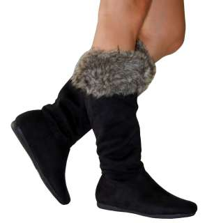 , Comfy & Stylish Cuff Faux Fur Suede Knee High Flat Boots Blk All Sz