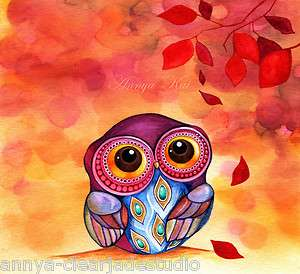 PAINTING~Owl Fall Colors Autumn Leaves~Jewel Fashion Necklace Owl