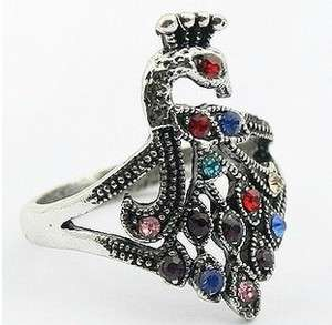 New Fashion Jewelry Womens Antique Color Crystal Peacock Ring