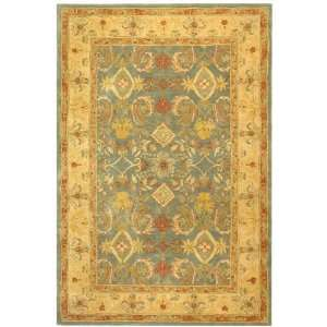 Hand Spun Wool Square Area Rug, Light Blue and Ivory