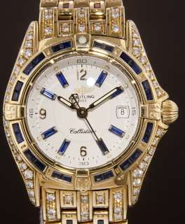 Breitling Callistino 18k Yellow Gold with Blue Sapphires & Diamonds