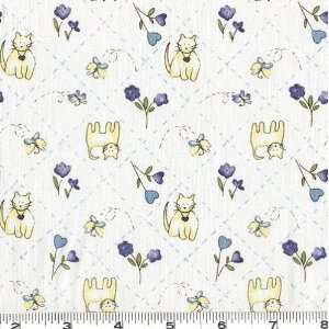 45 Wide My Sweet Baby Kitties White/Blue Fabric By The
