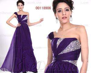 eDressit New Purple One Shoulder Ball Gown Evening Dress AU 8 22