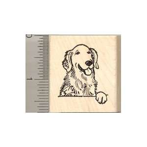 Golden Retriever Dog Rubber Stamp   Wood Mounted Arts