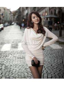 Chic Womens Casual Slim Fit Pleated Cowl Neck Long Sleeved Dress Beige