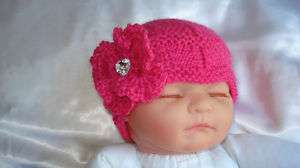 HAND KNITTED BABY BEANIE HAT PINK HEART DIAMANTE 0 24 M