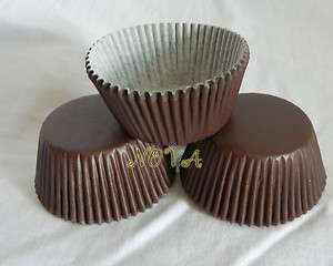 100 brown plain cupcake liners baking paper cup muffin cases