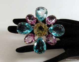 Vintage Kenneth Lane KJL Pastel Rhinestone Large Brooch Pin