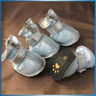 Pet Dog Puppy Leather Cozy Boots Shoes Clothes Apparel