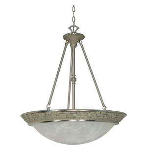 Glomar Rockport Milano 4 Light Hanging Brushed Nickel Large Pendant HD