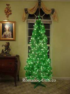 LIME Green Slim Alaska Christmas Tree 7 Foot Pre lit