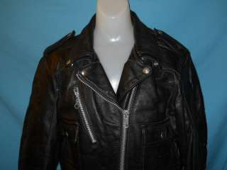 vintage HARLEY DAVIDSON BLACK LEATHER MOTORCYCLE JACKET WOMENS SIZE