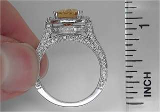 Estate 6.53 ct Natural Yellow Sapphire Diamond Engagement Ring 14k