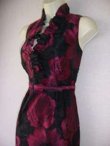 JESSICA HOWARD Fuschia Black Jacquard Belted Holiday Cocktail Party