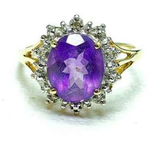Estate 14k yellow Gold Amethyst & Diamond ladies Cocktail ring circa