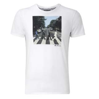 Mens Ben Sherman T Shirt The Beatles Abbey Road White